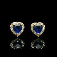 1.1Ct Heart Cut Blue Sapphire & Diamond 14K Yellow Gold Over Halo Studs Earrings
