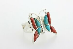 Jay King Mine Finds DTR Sterling Silver Turquoise & Rend Coral Butterfly Ring- 8