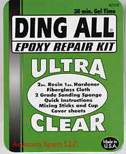 Ding All  Epoxy surfboard repair kit with instructions for longboard shortboard