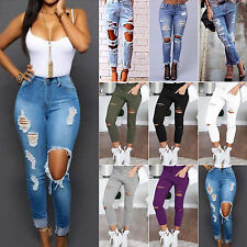 Women Ladies Destroyed Ripped Distressed Denim Jeans Skinny Slim Stretch Pants