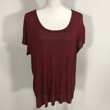 MOSSIMO Women Short Sleeve Blouse Top Shirt Tee Size XL Burgundy Red - C146