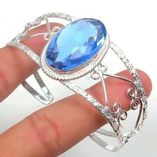 Blue Tanzanite Gemstone 925 Sterling Silver Handmade Jewelry Bangle Sz 7-8