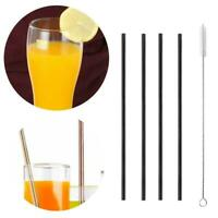 4 Pcs Stainless Steel Metal Drinking Straw Reusable Straws & Cleaner Brush Kit