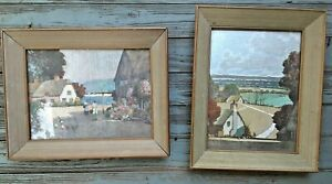 Framed Foil Pictures Set of TWO 2 Uden Pair Paintings chickens ocean art