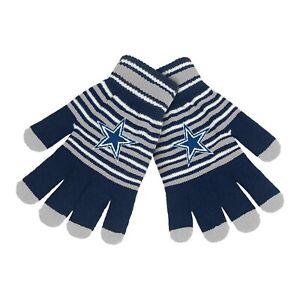 Dallas Cowboys Gloves Acrylic Stripe Knit Sports Logo Winter NEW Texting Tips