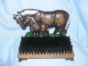 horse Doorstop And Boot Shoe Brush Cast Iron Heavy Garden Man Cave Shed