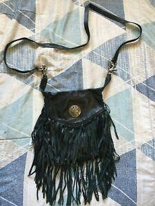 Vintage Harley Davidson Women's Crossbody Fringe Hand Bag Black Leather