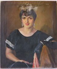Joseph Newman 1950's woman portriat oil painting