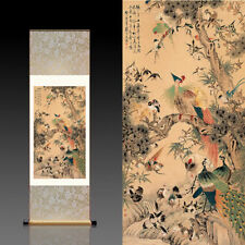 Chinese Silk Scroll Painting Phoenix Home Office Decoration(百鸟朝凤)