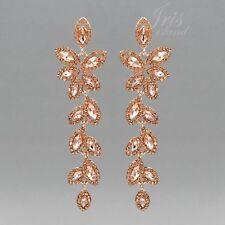 ROSE GOLD Plated Peach Crystal Rhinestone Wedding Drop Dangle Earrings 8936 New