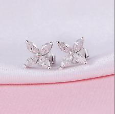 1.50Ct Marquise Cut Beatiful Diamond Flower Stud Earrings 14K White Gold Over