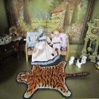 Dollhouse PETIT POINT TIGER WOOL ANIMAL RUG Miniature Handmade Artisan Artist