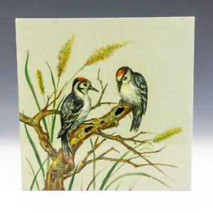 Antique Minton Hollins & Co - Hand Painted Woodpecker Tile - Arts & Crafts