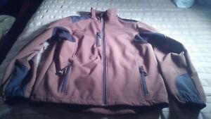 Reebok Men's Brown Black Large Full Zip Athletic Ski Jacket Coat (23.5P-P, 29L)