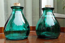 Retro Art Glass : A pair of green glass small Jars - C. 1970's