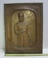 Antique Charles Stewart Parnell Metal Relief Art Sign Irish Politician Ireland