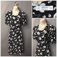 St Michael M&S Black Floral Cotton Retro Dress UK 16 EUR 44 with Belt
