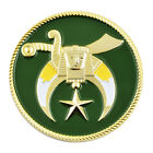 Shriner Masonic Auto Emblem - [Green & Gold][2'' Diameter]