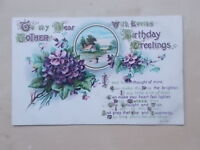VINTAGE GREETINGS POSTCARD - TO MY DEAR MOTHER WITH LOVING BIRTHDAY GREETINGS