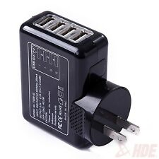 Black 4-Port USB AC Power Adapter Travel Wall Charger US Plug LED Illuminated