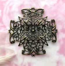 ~ Jewelry Oxizided Finding (Cb-3043) Antique Brass Cross Filigree Stamping