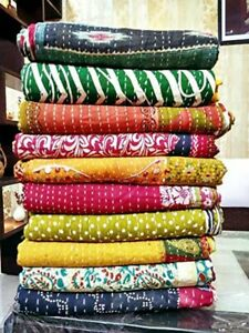 Vintage Kantha Throw Blanket Handmade Cotton Reversible Quilt Railli Gudri Lot