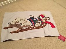 "Pottery Barn Christmas POLAR BEAR Embroidered Lumbar Pillow Cover 16x26"" New"