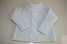 $425 NEW BABY DIOR SWEATER Mock neck LONG SLEEVE LIGHT Pale BLUE WOOL 6 Months