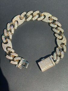 Mens Cuban Gucci Link Gold Over Stainless ICY Hip Hop Bracelet - ICY Diamonds