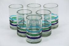 Three Bands of Color, Juice Glasses, Set of 6, Hand Crafted Mexican Glassware