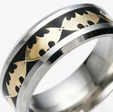 BLACK /GOLD ~ BATMAN  ~ SIZE:13  ~  S/STEEL ~ RING  -- (GREAT_GIFT)
