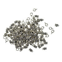 100pcs Tibetan Silver Connectors Spacer Bails Beads Hanger Charms Pendants