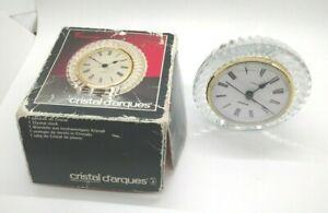 Crystal Clock Genuine Lead Crystal Quartz Round Desk Style Need 1 large Battery