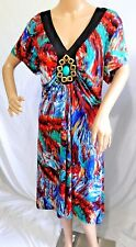Jennifer Lauren Women Plus Size 3x Bohemian Red Blum Casual Work Dress Beaded