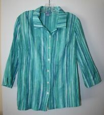 84b1582f9241a7 Koret Womens 100% polyester Multi Color Striped Long Sleeve Button Top Size  M