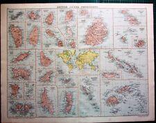 1919 LARGE MAP BRITISH ISLAND POSSESSIONS MAURITIUS BARBADOS FALKLAND ZANZIBAR
