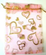15 Baby Pink Gold Heart Organza Bags Jewellery Packaging Party Favour