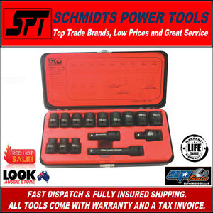 """SP TOOLS SP20310 1/2"""" DRIVE METRIC IMPACT SOCKET SET 15 PIECE WITH UNI-JOINT"""