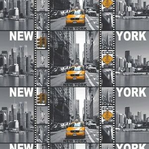 """Grey *LONDON* *NEW YORK* 100% Cotton Fabric Material By The Metre 63"""" Wide"""