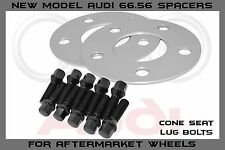 5mm Hubcentric 5x112 66.56 Wheel Spacers | 14x1.5 33mm Black Cone Seat Lug Bolt