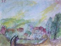 Expressives Aquarell Landschaft mit Häusern im Frühling Weg ins Dorf