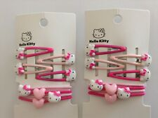 nwt Girl's 3Y+, 8Pcs Hello Kitty Hair Clips & 4Pce Elastic Ponytail Holder