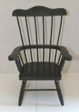 "Windsor Style Wood Doll Bear Chair with Arms 12.5"" Tall Black"