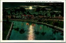 """Fort Lauderdale, Florida Postcard """"BEVERLY HEIGHTS BY MOONLIGHT"""" 1932 Cancel"""