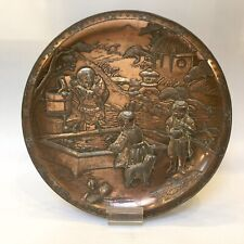 Antique Vintage Japanese Mixed Metal Plate Figures By A Fish Pool