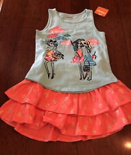 Gymboree Friends Tank and Pineapple Skort Girls Size S 5-6 NWT Set