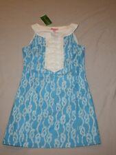 New Women Lilly Pulitzer Caroline Drop Me A Line Seaspray Blue Dress Size 2