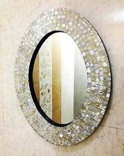 Decorative Beveled Oval Wall Mirror with White Mother of Pearl Inlay Frame Decor