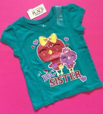 """*NEW* """"#1 BIG SISTER"""" Baby Girls Graphic Shirt 2T 3T 4T Gift! Sibling Birth Teal"""