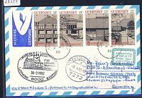 58311) LH FF München - Genua Italien 30.3.92, Karte ab Guernsey